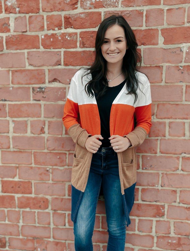 Gemstone Boutique Color Block Cardigan
