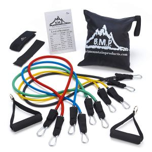 Black Mountain Products Resistance Band Set with Ankle Strap and Door attachment